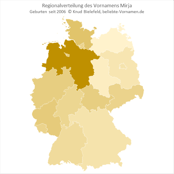 Besonders beliebt ist der Name Mirja in Niedersachsen.