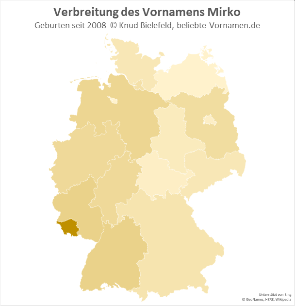 Im Saarland ist der Name Mirko besonders beliebt.