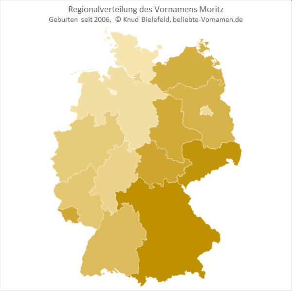Regionalverteilung des Vornamens Moritz