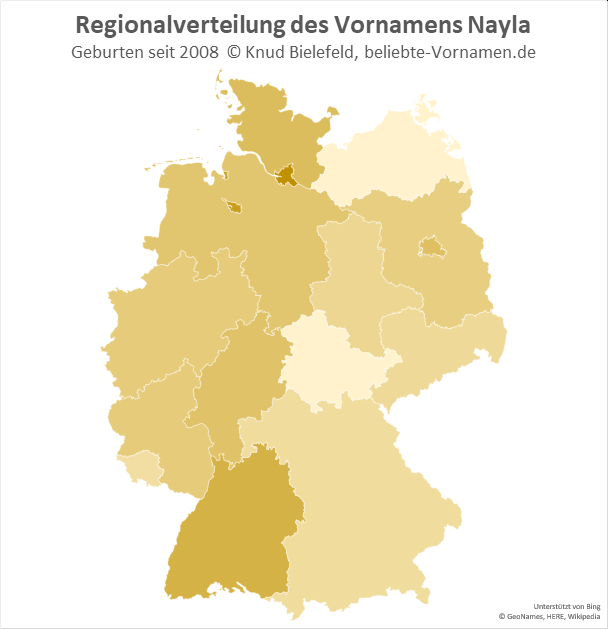 Besonders beliebt ist der Name Nayla in Hamburg.