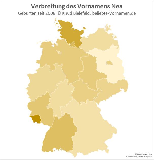 Am beliebtesten ist der Name Nea im Saarland und in Schleswig-Holstein.