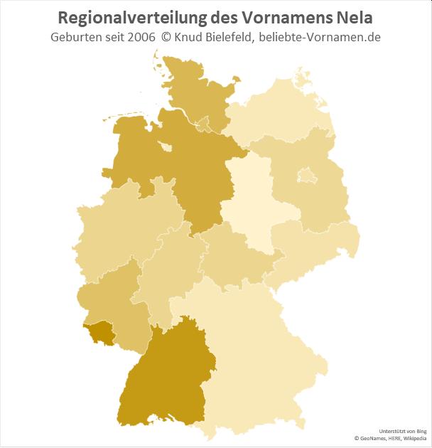 Im Saarland und in Baden-Württemberg ist der Name Nela besonders beliebt.