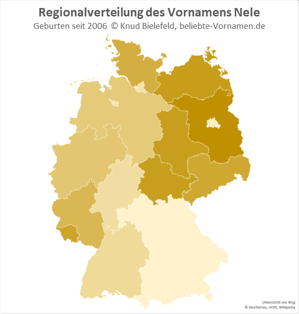 Am beliebtesten ist der Name Nele in Brandenburg