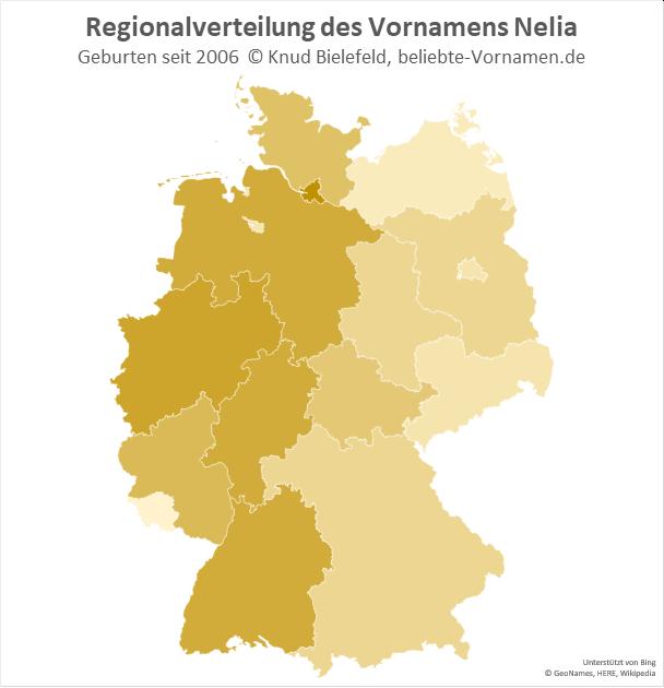 Am beliebtesten ist der Name Nelia in Hamburg.