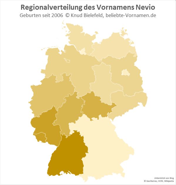 Der Name Nevio ist in Baden-Württemberg besonders beliebt.