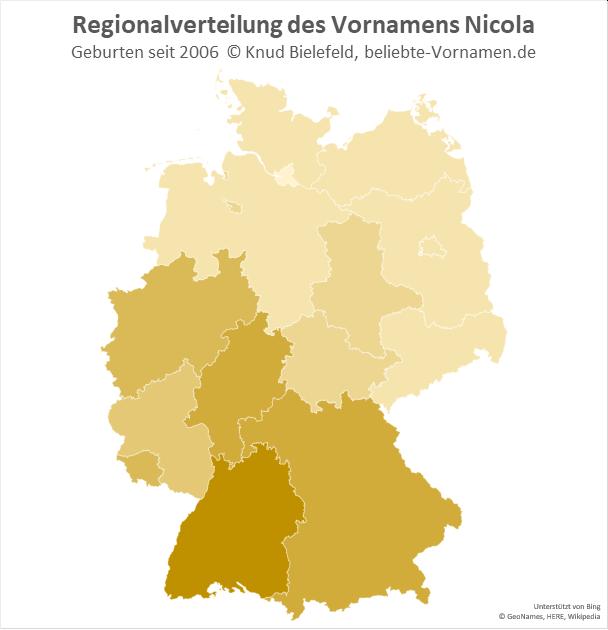 In Baden-Württemberg ist der Mädchenname Nicola besonders beliebt.