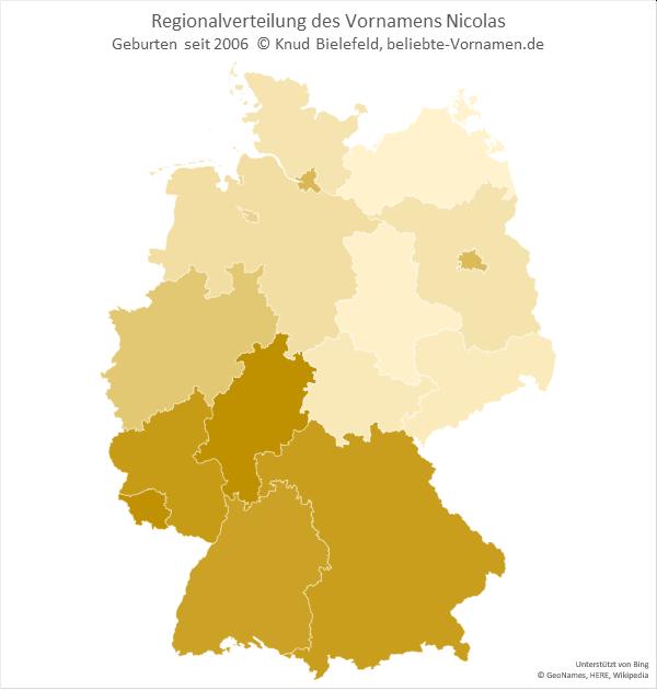 Der Name Nicolas kommt in Süddeutschland deutlich häufiger vor als in Norddeutschland.