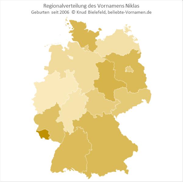 Am beliebtesten ist der Name Niklas im Saarland.