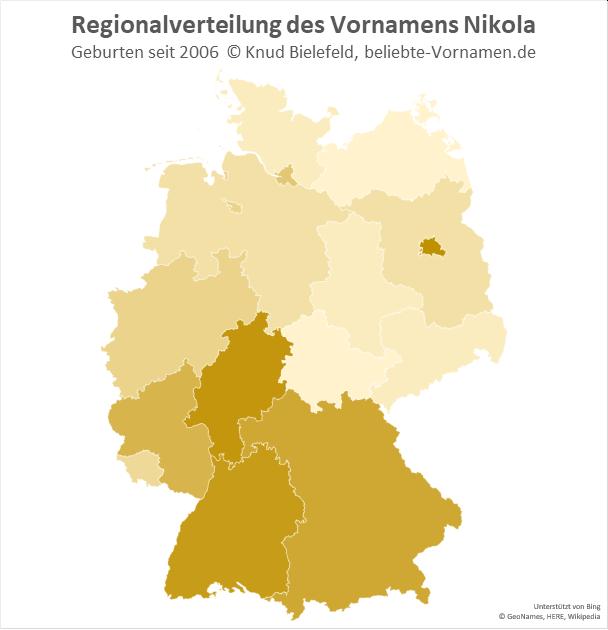 Als Jungenname ist Nikola in Berlin und in Hessen am beliebtesten.