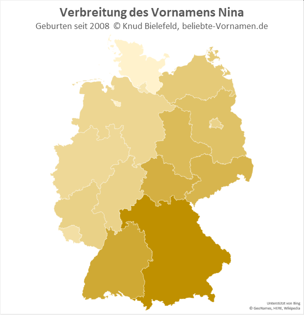 In Bayern ist der Name Nina besonders beliebt.