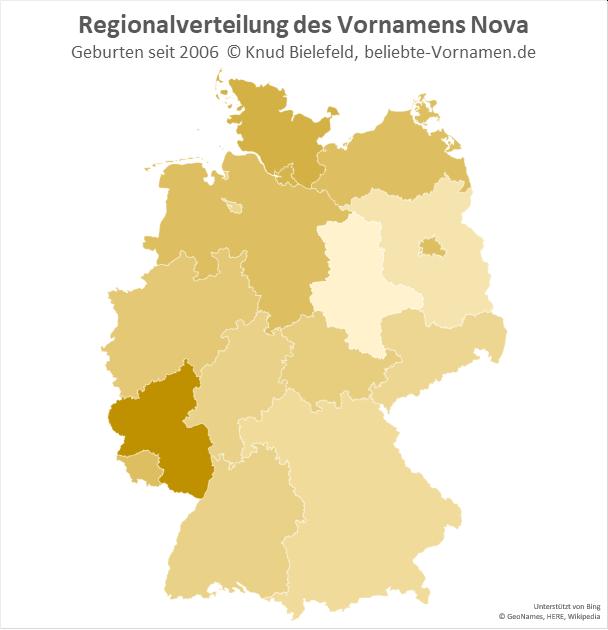 Am beliebtesten ist der Name Nova in Rheinland-Pfalz.