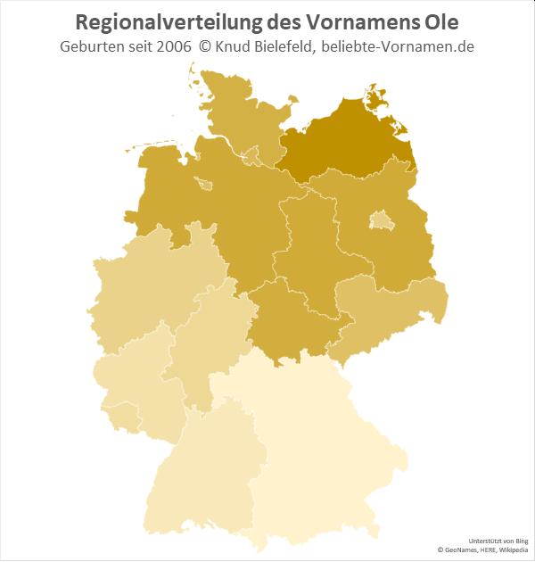 Am beliebtesten ist der Name Ole in Mecklenburg-Vorpommern