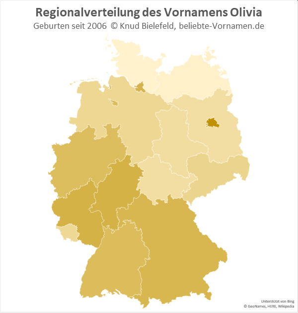 Am beliebtesten ist der Vorname Olivia in Berlin.