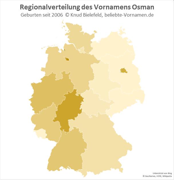Am beliebtesten ist der Name Osman in Bremen und in Hessen.