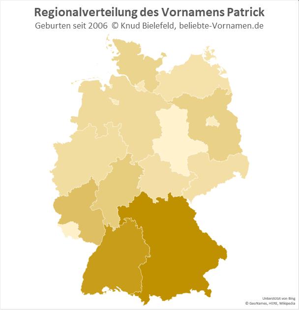 In Süddeutschland ist der Name Patrick besonders beliebt.