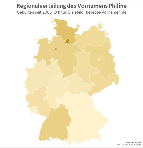 Am beliebtesten ist der Name Philine in Hamburg.