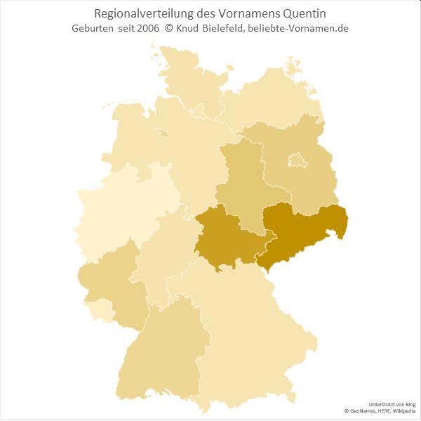 Der Name Quentin ist in Sachsen am beliebtesten.