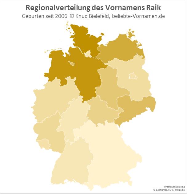 Am beliebtesten ist der Name Raik in Niedersachsen und in Schleswig-Holstein.