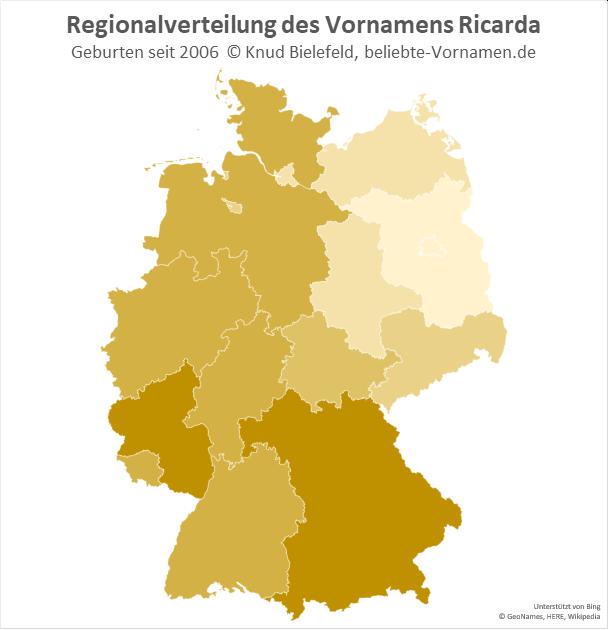 In Bayern und Rheinland-Pfalz ist der Name Ricarda besonders beliebt.
