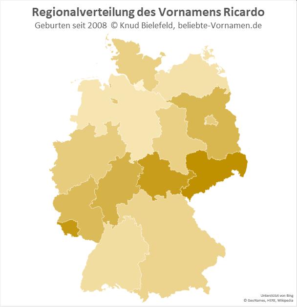 In Sachsen und im Saarland ist der Name Ricardo besonders beliebt.