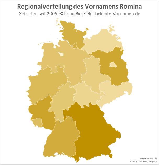 Am beliebtesten ist der Name Romina in Bayern.