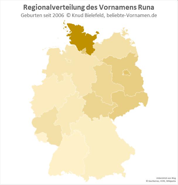 Am populärsten ist der Name Runa in Schleswig-Holstein.