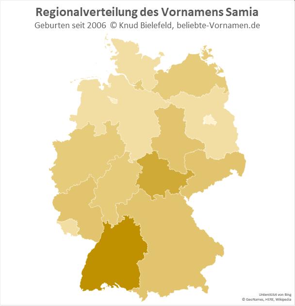 In Baden-Württemberg ist der Name Samia besonders beliebt.