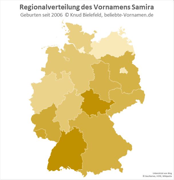 Besonders beliebt ist der Name Samira in Thüringen und Baden-Württemberg.