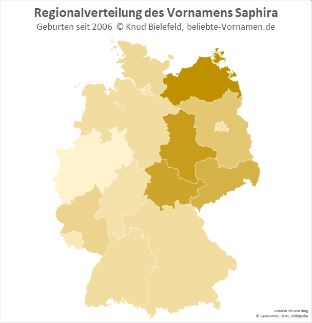 Am beliebtesten ist der Name Saphira in Mecklenburg-Vorpommern.