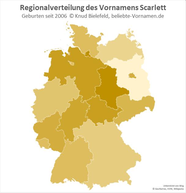 In Hamburg und Sachsen-Anhalt ist der Name Scarlett besonders beliebt.