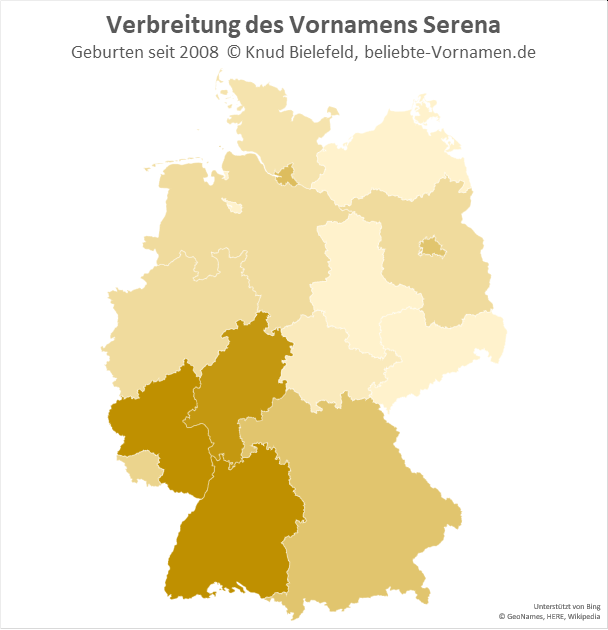 In Baden-Württemberg und Rheinland-Pfalz ist der Name Serena besonders beliebt.