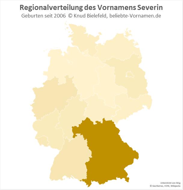 Der Name Severin kommt vor allem in Bayern vor.