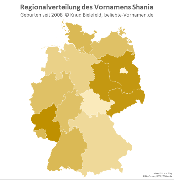 Am beliebtesten ist der Name Shania in Rheinland-Pfalz.