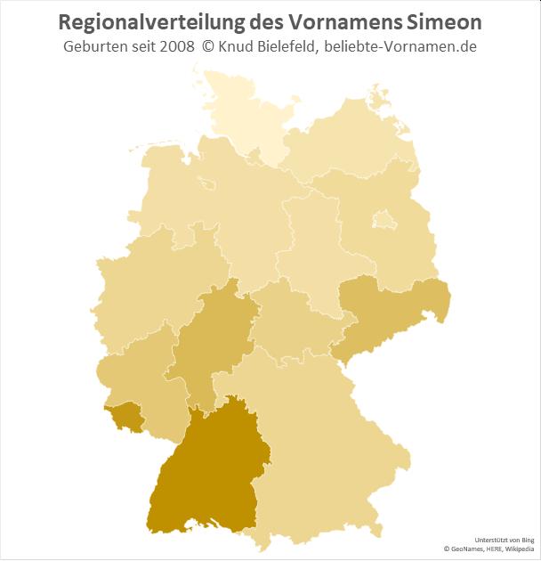 In Baden-Württemberg und im Saarland ist der Name Simeon besonders beliebt.