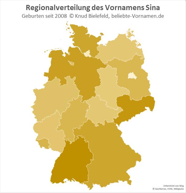 In Baden-Württemberg ist der Name Sin besonders beliebt.