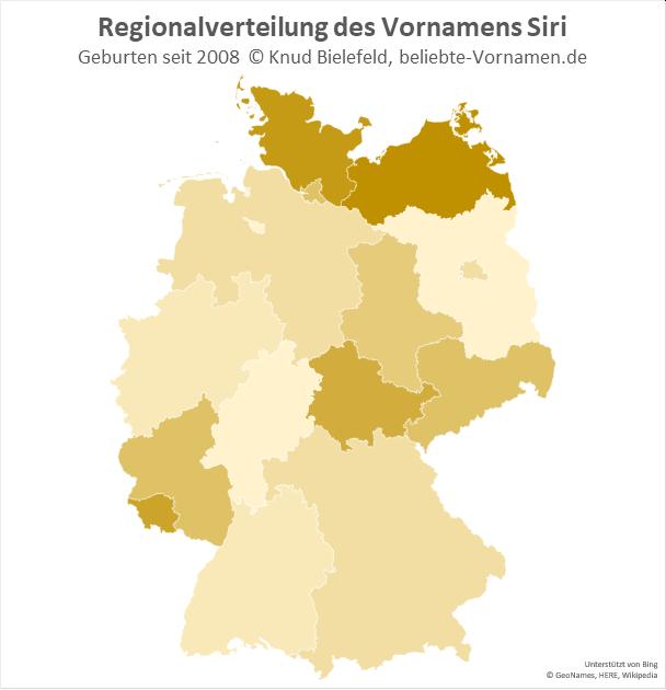 Am beliebtesten ist der Name Siri in Mecklenburg-Vorpommern und Schleswig-Holstein.