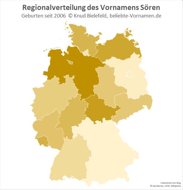 Am beliebtesten ist der Name Sören in Niedersachsen.