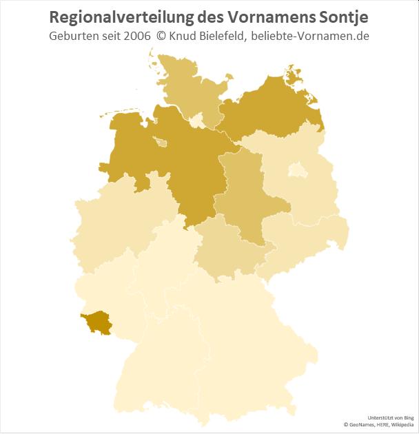 Der Name Sontje kommt vor allem in Norddeutschland, aber auch im Saarland vor.