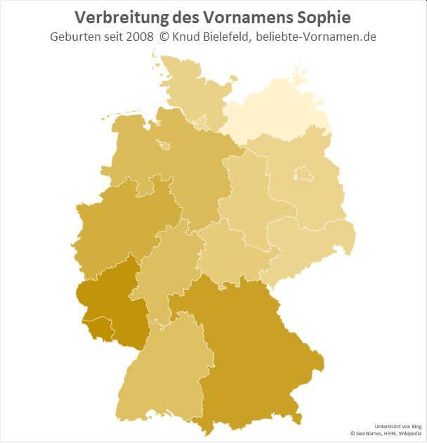 Im Saarland und in Rheinland-Pfalz ist der Name Sophie besonders beliebt.