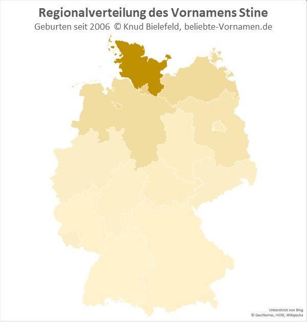 Der Name Stine kommt vor allem in Schleswig-Holstein vor.
