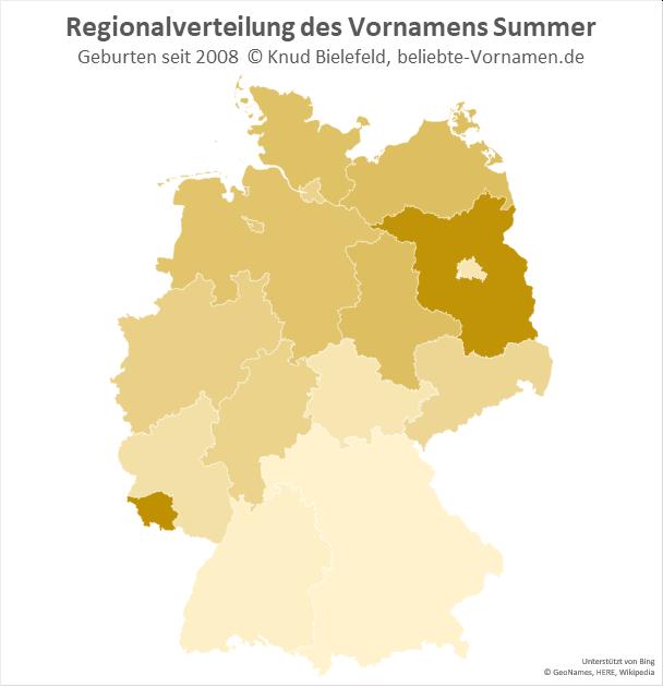 In Brandenburg und im Saarland ist der Name Summer besonders beliebt.