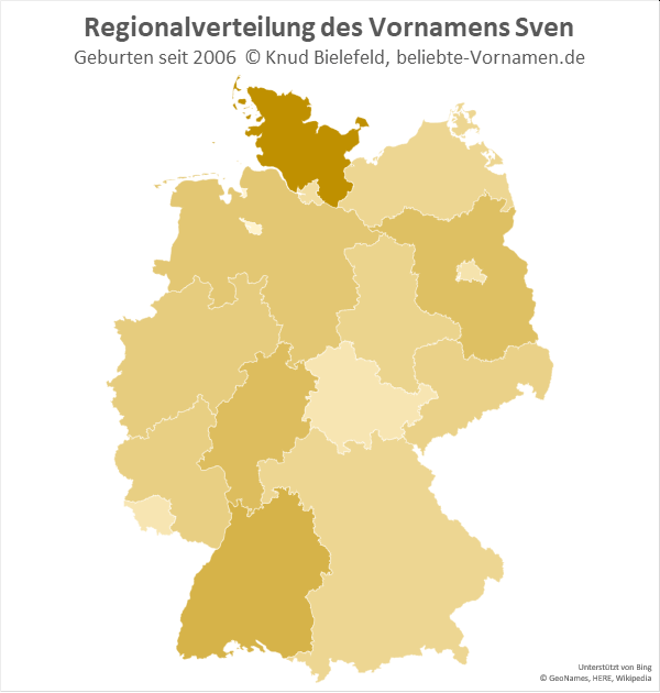 In Schleswig-Holstein ist der Name Sven besonders beliebt.