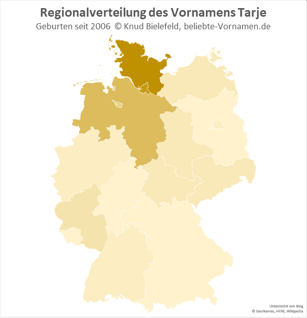 In Schleswig-Holstein ist der Name Tarje am beliebtesten.