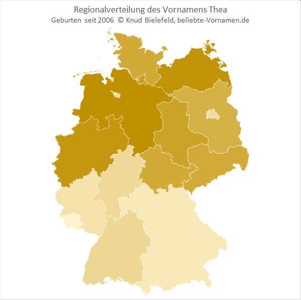 Im nördlichen Teil Deutschlands ist der Name Thea viel populärer als im südlichen Teil.