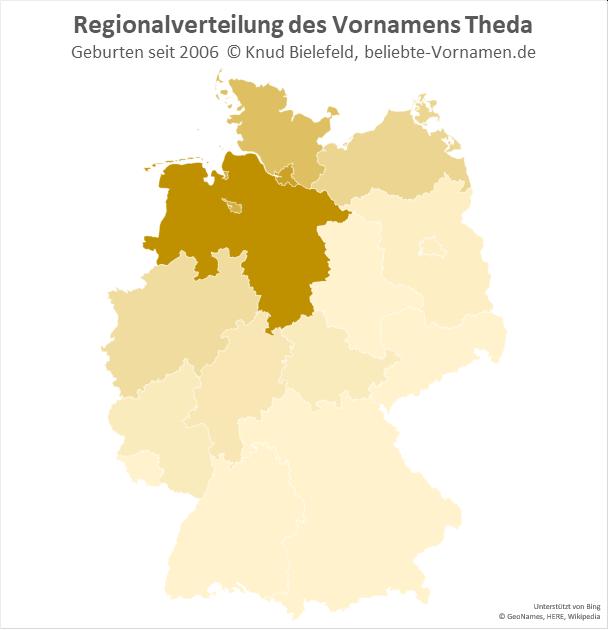 In Niedersachsen ist der Name Theda am beliebtesten.