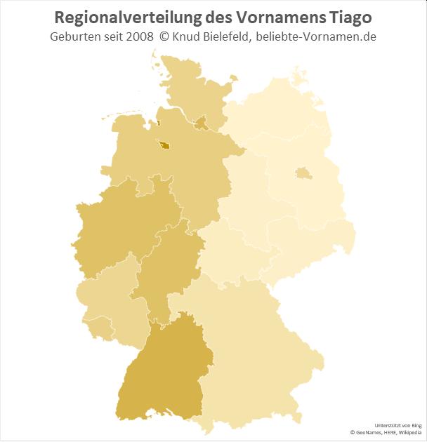 Am beliebtesten ist der Name Tiago in Bremen und Baden-Württemberg