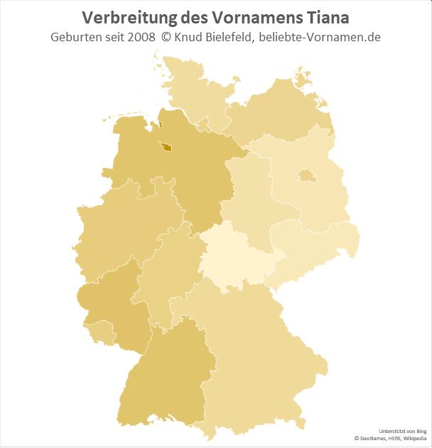 Besonders beliebt ist der Name Tiana in Bremen.