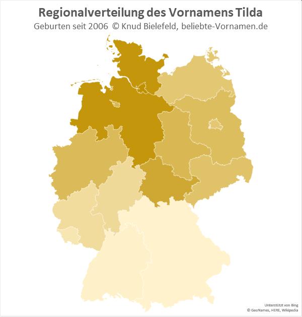 In Niedersachsen und Schleswig-Holstein ist der Name Tilda besonders beliebt.