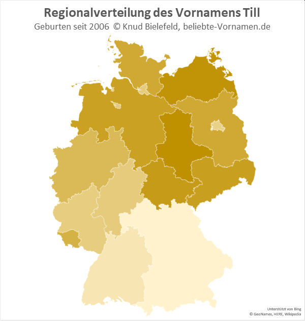 Der Name Till ist in Norddeutschland populärer als in Süddeutschland.