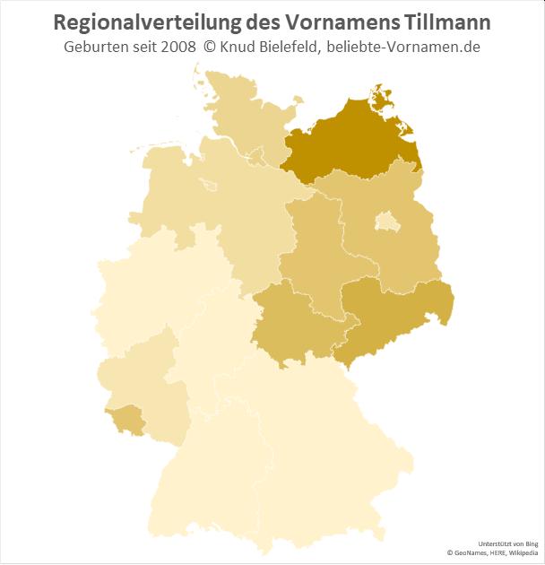 Am beliebtesten ist der Name Tillmann in Mecklenburg-Vorpommern.